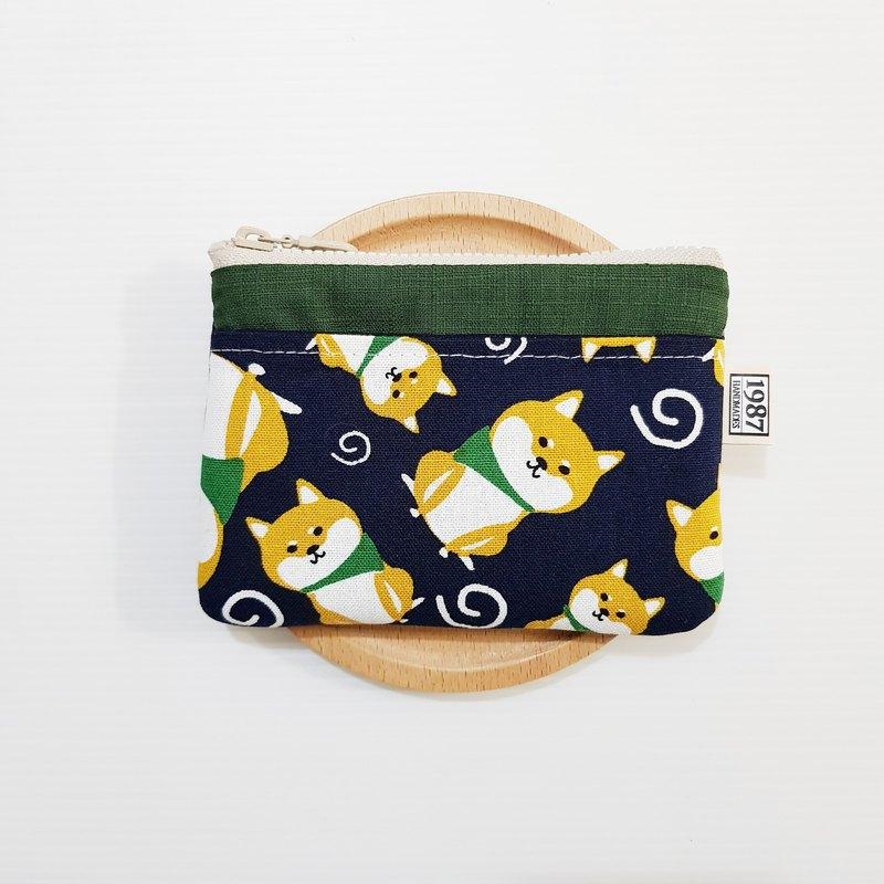 【柴柴樂園-藍(綠】 零錢包 手拿包 隨身包 拉鏈袋 聖誕交換禮物
