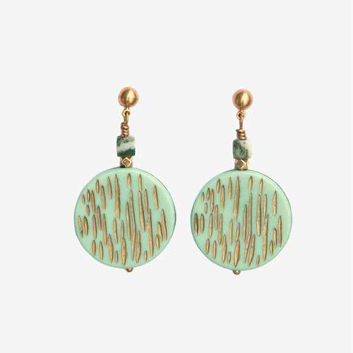 Etched Mint Green Gold Vintage Acrylic Round Earrings