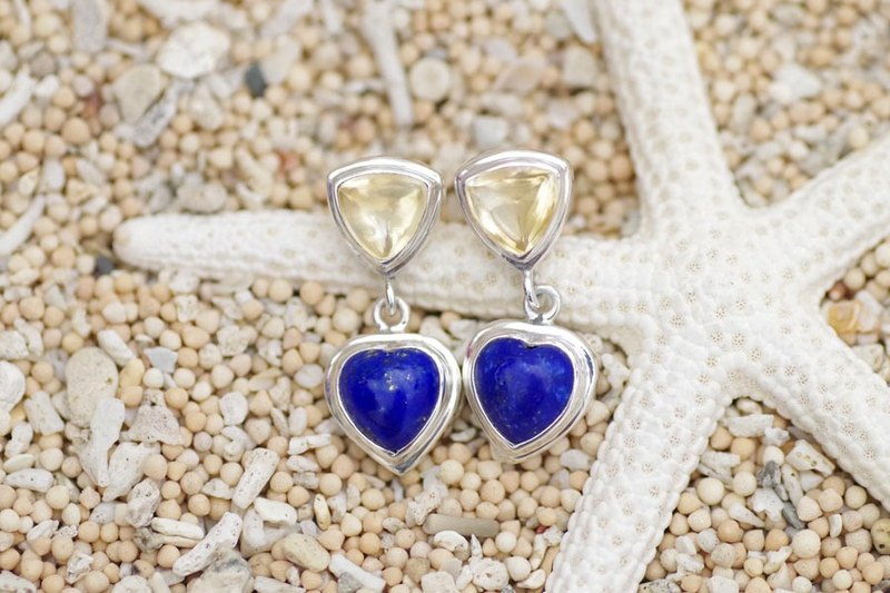 Heart of lapis lazuli and citrine Silver Earrings