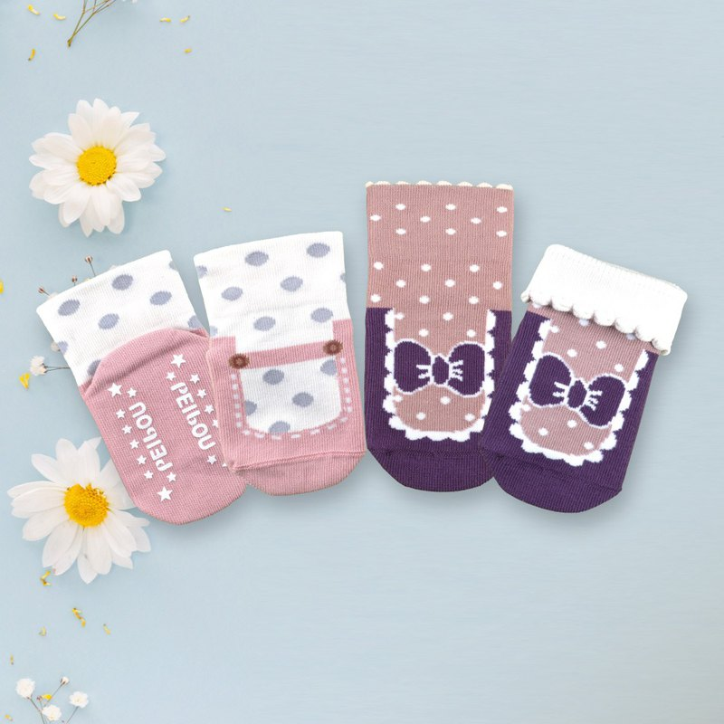 78% United States SUPIMA cotton Mary Jane baby socks 2 each 1 pair of Miyueli safety anti-slip socks wide mouth socks