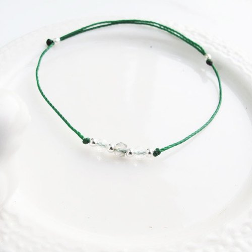 . Members 囡 Aberdeen. [Silver] handmade are positive energy natural stone × silver beads ultra-fine wax rope elongated white crystal cut beads bracelet handmade sterling silver green