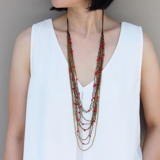 Layered Strand Necklaces Coral Woven Beaded Stone  Ask a question