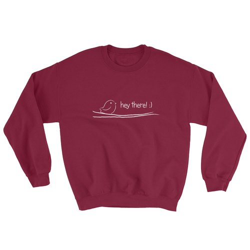 Crewneck SweatShirt - Greeting Bird (Maroon)