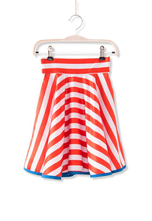 French round circle skirt - orange stripes