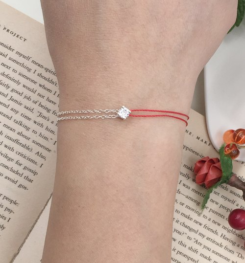 *Le Bonheur Line Happiness Line*925 sterling silver four-claw diamond single drill half chain half line / red line bracelet Red line
