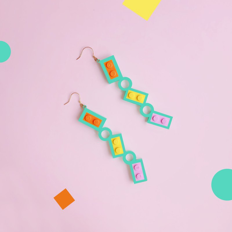 Summer Fun letter green Geometric Silver Earrings