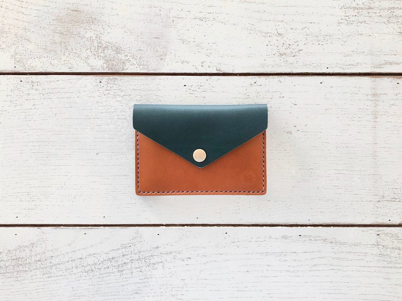 Card case like a letter / blue x brown x lavender