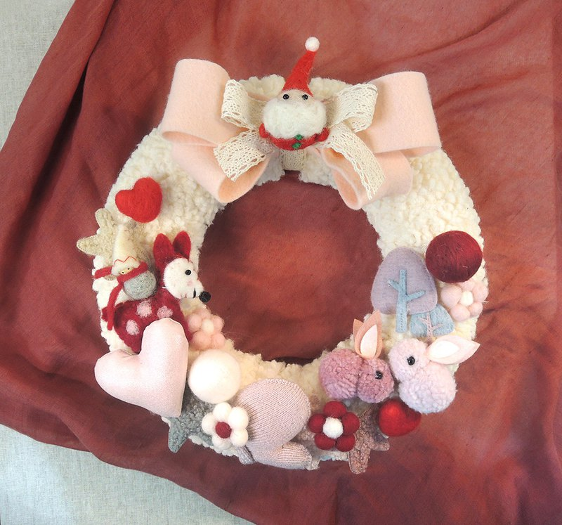 Healing Wool Felt Doll Warm Christmas Wreath-Large Bow Vanilla Donut