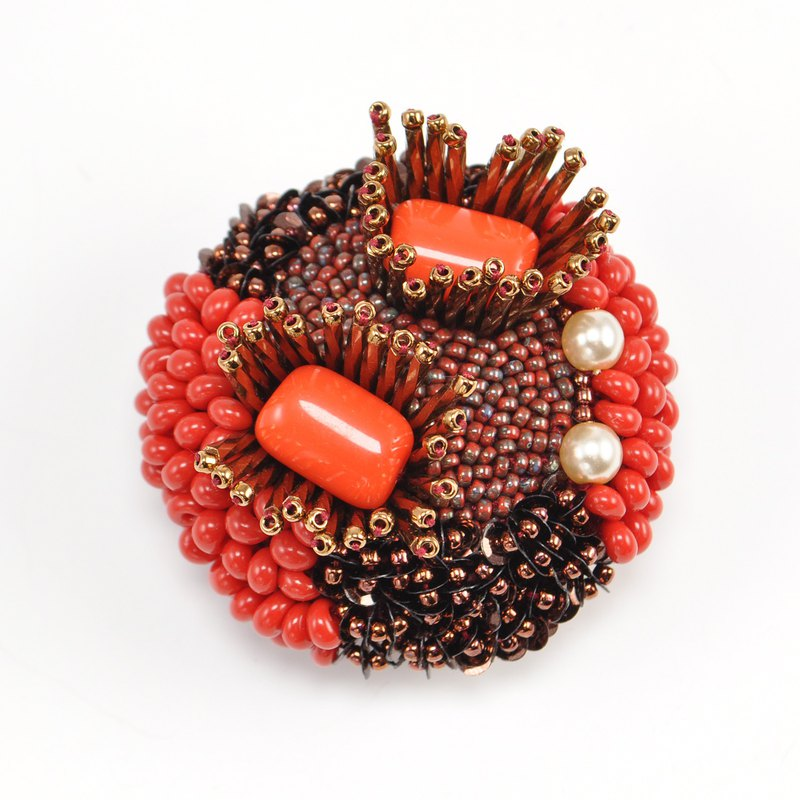 Red and copper beads brooch, statement and sparkly circle brooch 10