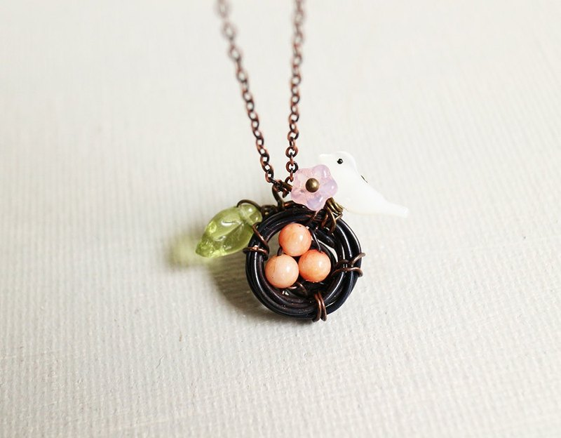Handmade copper nest necklace