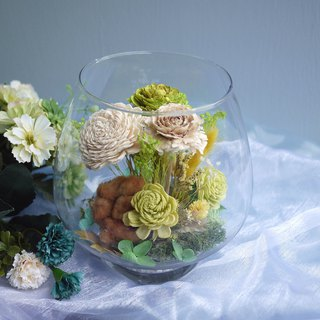 Eden Collection - Earth yellow green wood rose glass table flower micro landscape