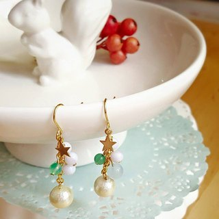 Starry Pieces Cotton Pearl Earrings- Jade