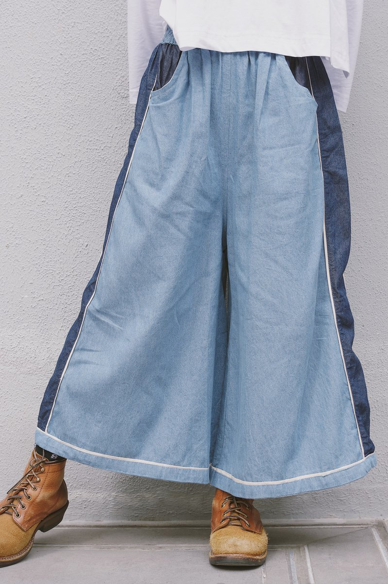 Wave Interweaving | Denim Panel Wide Pants