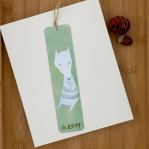 Hand painted metal bookmarks - White Fox - Green
