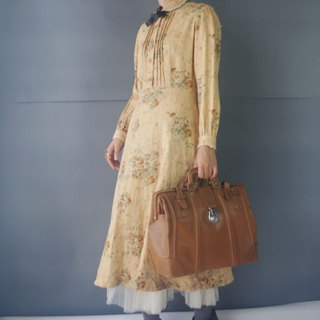 Treasure Hunting Vintage - European Classical Silk Flower Floral Camel Lace Retro Dress