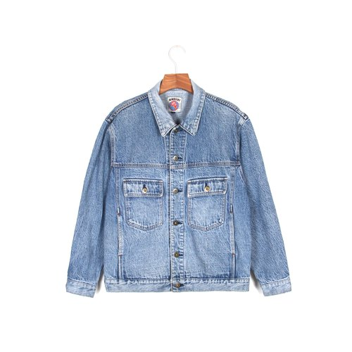 Ancient】 【egg plant Clear sky and vintage denim jacket