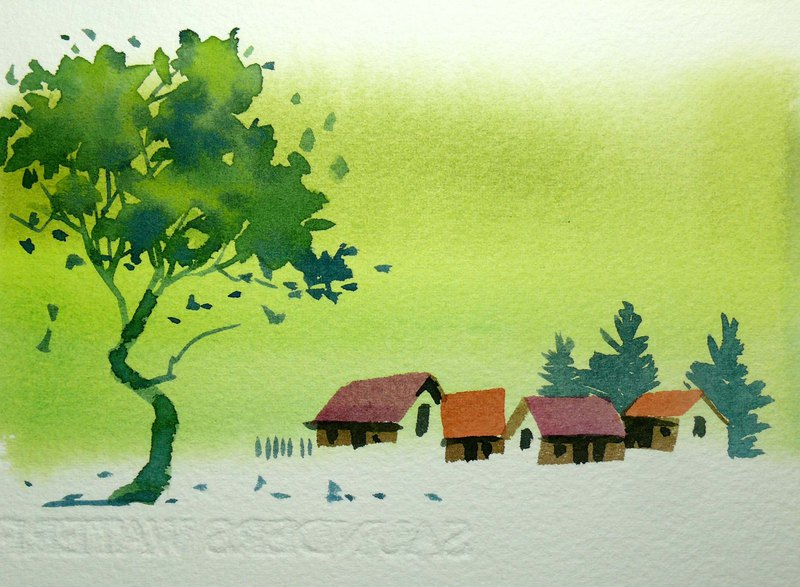 Wenqing Department of Woods Series 589 - Watercolor Hand Drawn Limited Edition Postcard / Christmas Card
