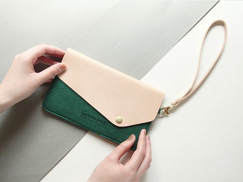 Leyang·Gauisus - Felt Angle Flip-Front Cover Mobile Phone Storage Bag/Passport Bag - Vintage Elder Green