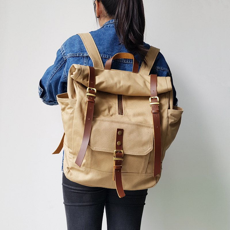 GENUINE LEATHER & COTTON CANVAS UNISEX ROLL TOP RUCKSACK BACKPACK
