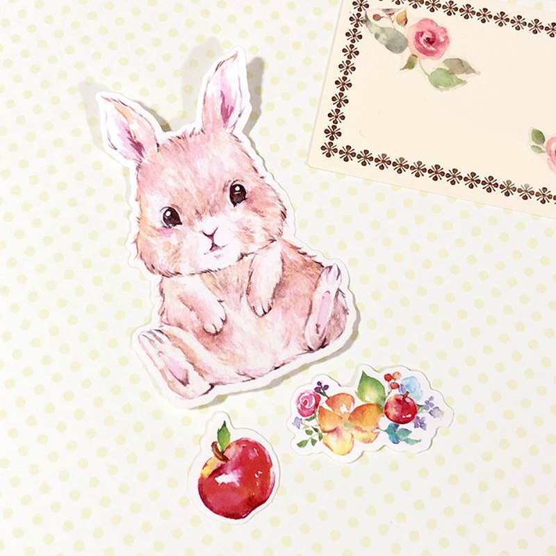 Little Animals Stickers - I Love apple! Bunny