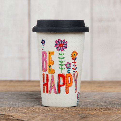Ceramic insulated double cup-BE HAPPY∣TMUG029