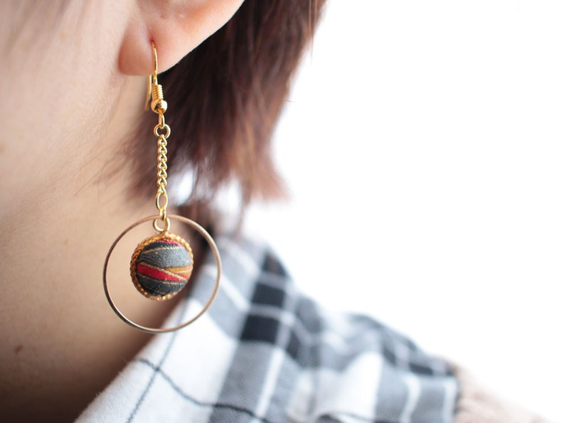 Japanese paper earrings Earrings washi paper ball stripes