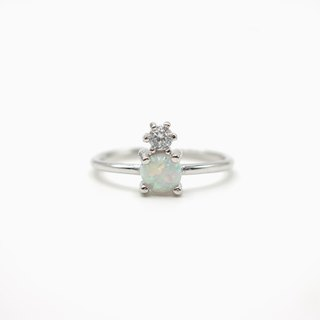 Opal and CZ Duo Ring - 925 Sterling Silver