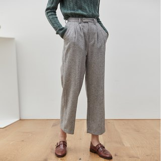 Gray 3 color autumn and winter cover meat burning pants wool material straight suit pants wide leg wide pants nine points pants
