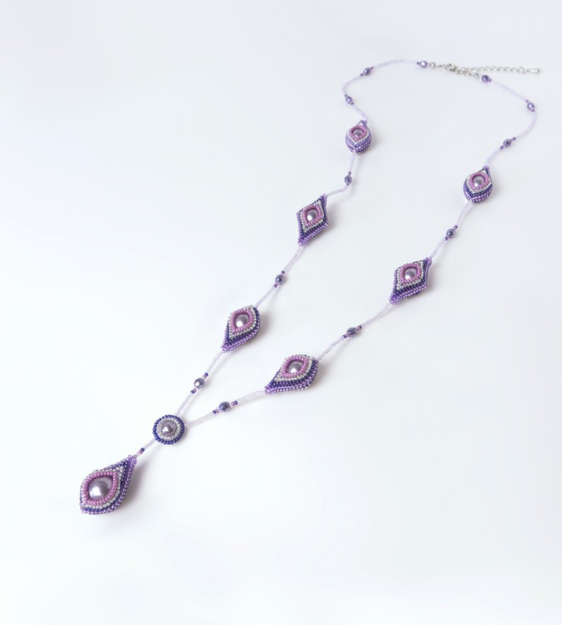 Purple teardrop necklace, Y shaped long necklace, striped square and drop, 418