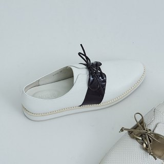 String straps round head leather casual shoes purple white