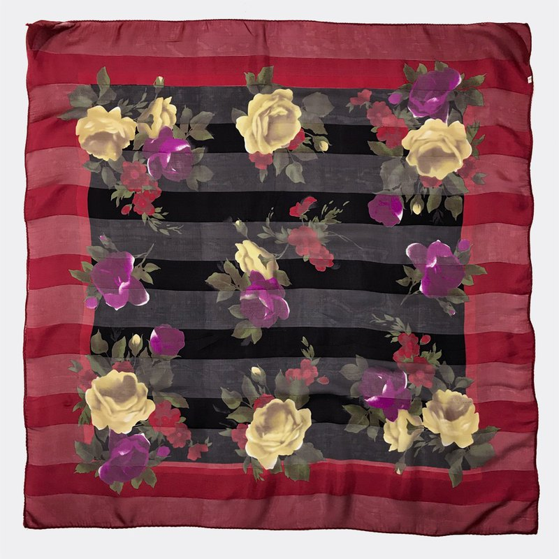 Red horizontal stripes antique flower scarf BF0031