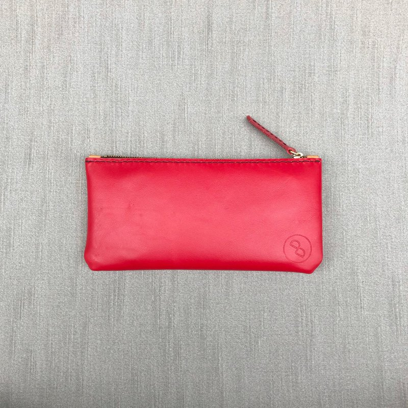 Handmade elegant leather zipper long clip (mobile phone bag clutch) snow red (Christmas, gift)