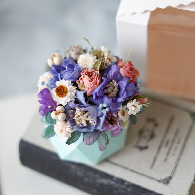 To be continued | Powder blue purple dry flower spread pot flower bridesmaid gift spot (with box)