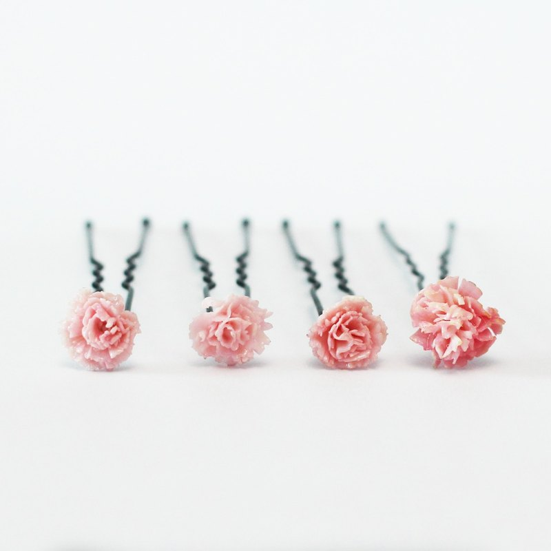 Pamycarie spring and summer handmade resin clay pink small flower hairpin