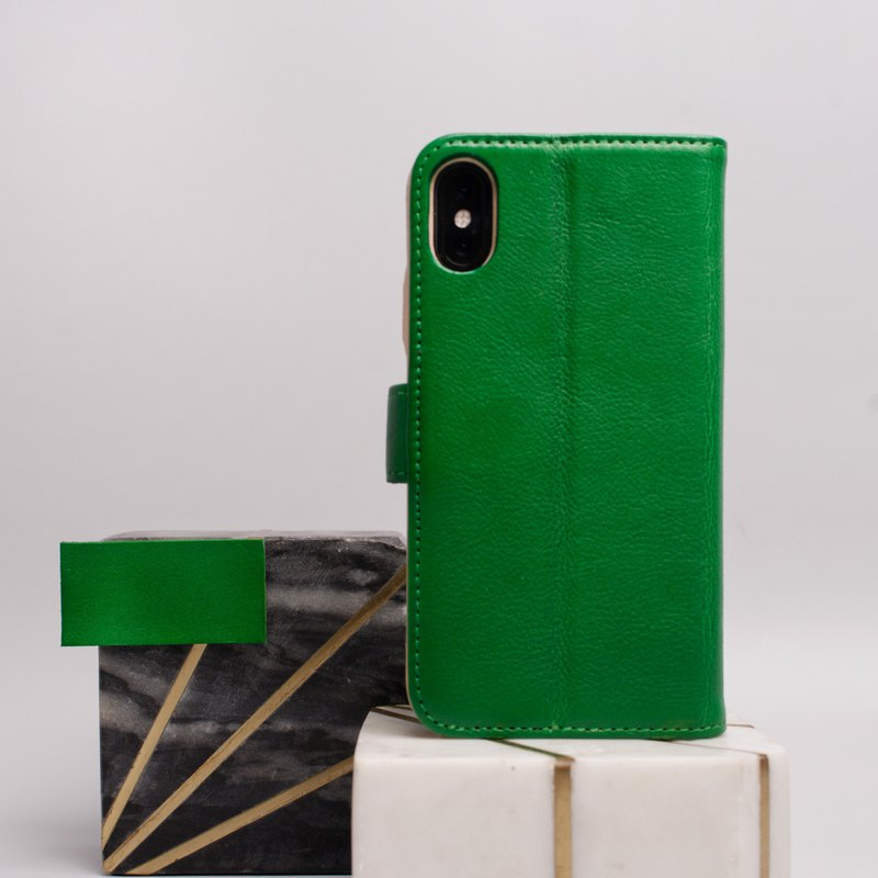 Leather iPhone wallet case for iPhone Xs/X & Xs Max - Dots in Lime Green