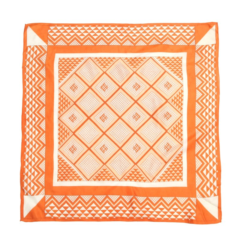 [Egg Plant Vintage] Orange Geometry Totem Printed Vintage Scarf