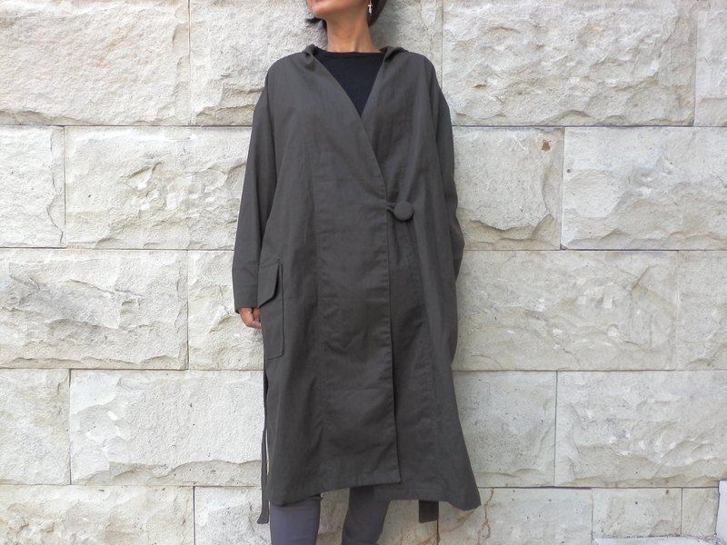 Cotton canvas Half coat / dark brown