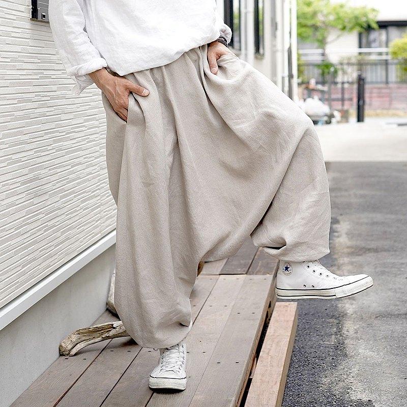 wafu --Ama褲子輕質亞麻男女皆宜的哈倫褲/亞麻米色b020b-amn1
