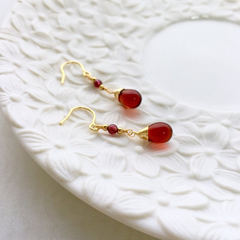Ruo Sang brewing II. Garnet. Imported 18k gold earrings.