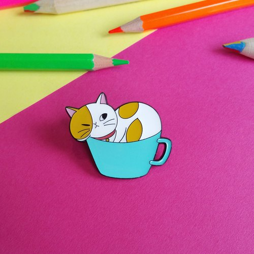 Cat Runneth Over Enamel Pin