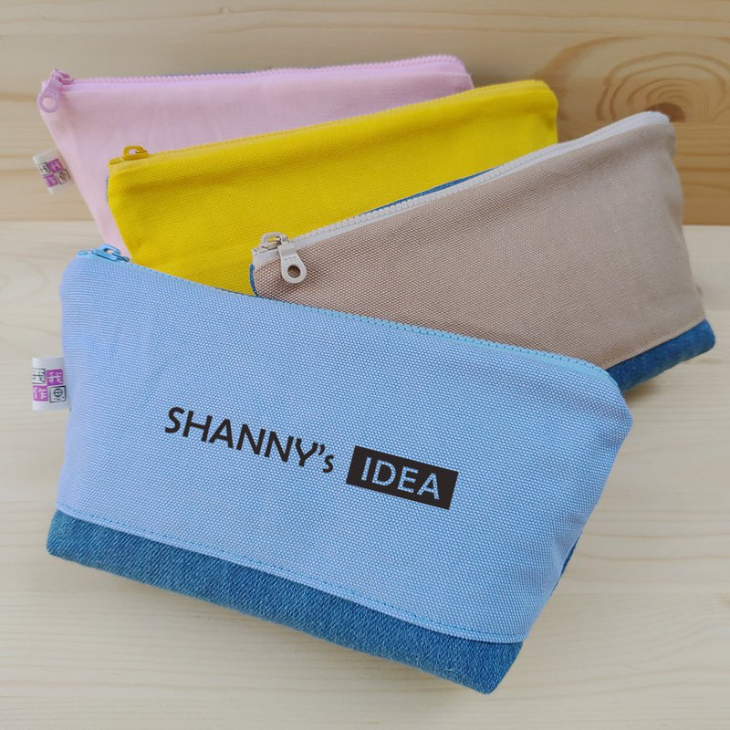 Customized _ color canvas take denim big pencil case