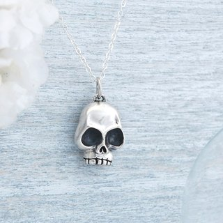 Cute wind skull - silver necklace