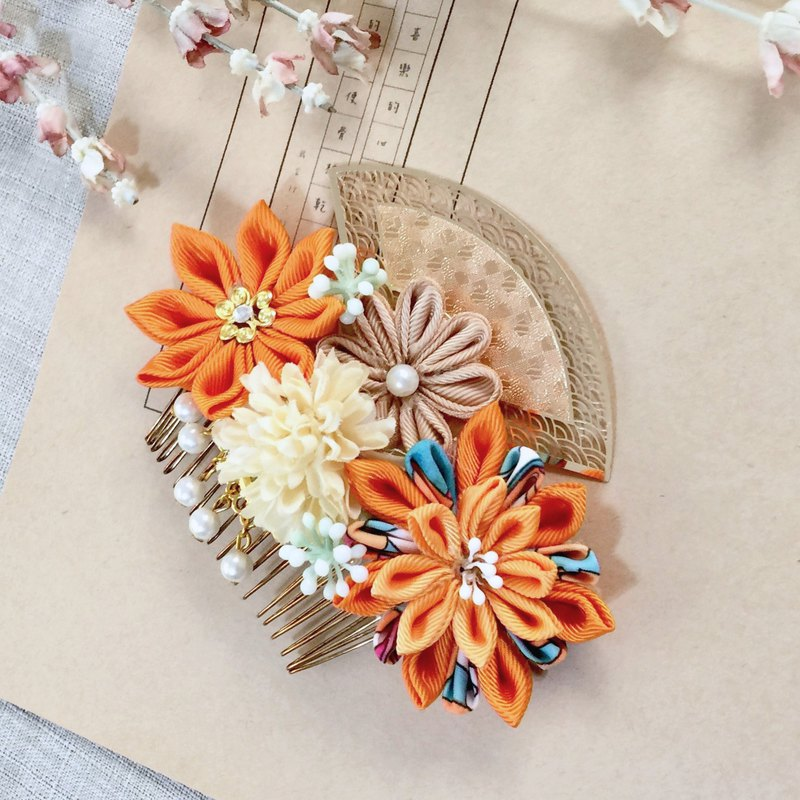 Gorgeous blue-orange contrast handmade flowers fan-shaped pearl gold ornaments hair fork hair inserting comb headdress hairpin
