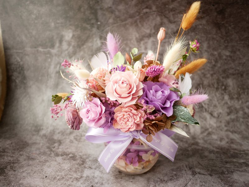[Pink-purple love potted flower] custom-made potted flower table flower dry flower eternal flower without withering flowers