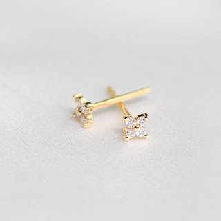 【PurpleMay Jewellery】18k White Gold Clover Diamond Stud Earring E011