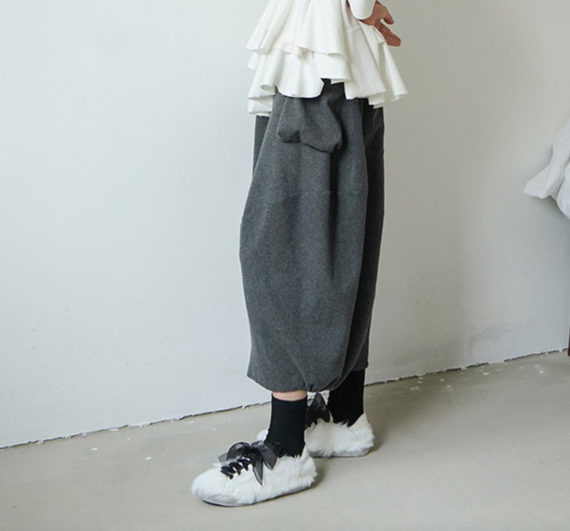 Dark gray cropped cotton wide pants - imakokoni