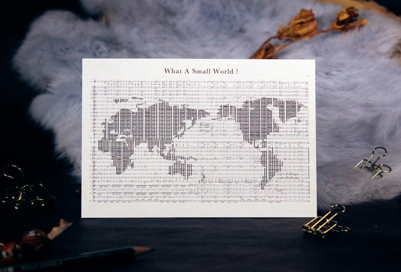 [Musical Score Postcard] World Map-Little World