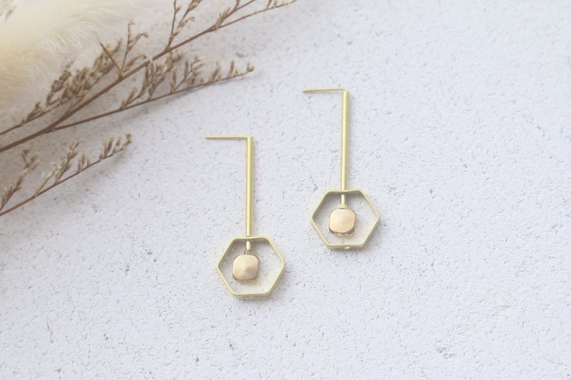 Brass earrings 1107 - good stick