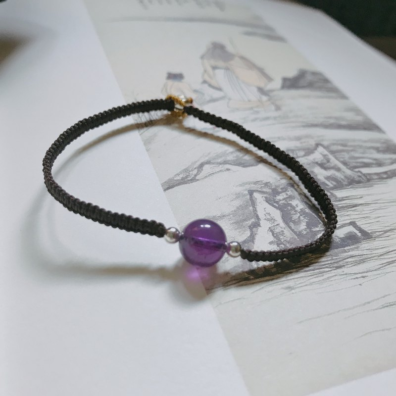 Hand-made is already a dream guest. Amethyst braided bracelet retro simple art can be customized silver bead bracelet