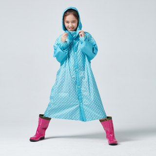 BAOGANI Children's Raincoat Houndstooth Backpack (Blue)